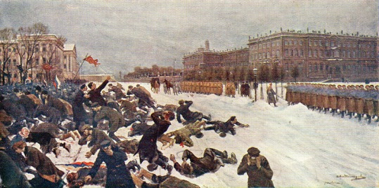 Shooting workers near the Winter Palace January 9, 1905 (Расстрел на Дворцовой площади 9 января 1905 года ) by Ivan Vladimirov